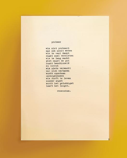 Uitgetypt gedicht - Probeer | René Oskam